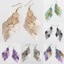 Fashion Hollow Out Leaves Hook Dangle Stud Earrings Eardrop Jewellery
