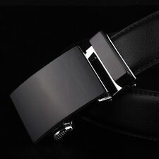 Men's Solid Black Automatic Buckle Genuine Leather Waist Strap Belts Waistband