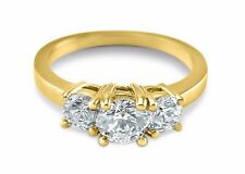 14K Yellow Gold 3 stone engagement ring Forever One Moissanite  round 1 CTW