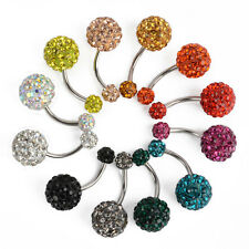 Navel Belly Button Ring Barbell Rhinestone Crystal Ball Piercing Body Jewelry P