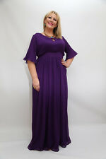 *TALL*  Plus Size Long Maxi Dress in Red, Purple and Black Chiffon with sleeves