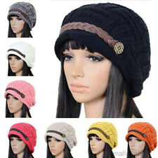 Women Braided Knit Baggy Beanie Cap Warm Winter Knitting Wool Cute Ski Cap Hats