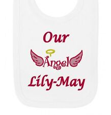 Personalised Our Angel Any Name Girls Newborn Baby Bibs Embroidered Gifts