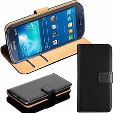 BLACK LUXURY REAL LEATHER WALLET STAND CASE CARD POCKET FOR SAMSUNG PHONE UKSELL
