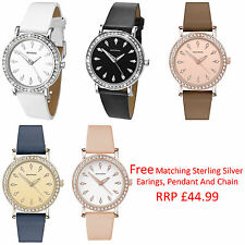 Sekonda Editions Ladies Leather Strap Watch 5 Choices Free Pendant And Earrings