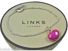 LINKS OF LONDON Sterling Silver T Bar Pink Heart Charm Bracelet Jewellery 18cm