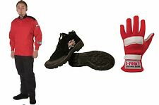 G Force Racing Novice Race Kit RED /BLACK 1lyr Driving Suit,Shoes & Gloves XXL