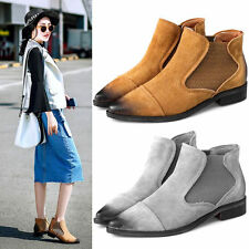 New Womens Real Leather Cowboy Ankle Boots Western Oxfords Point Toe Flats Shoes