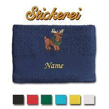 Towel Shower Towel Bath Towel Cotton embroidered Embroidery Reindeer + Name