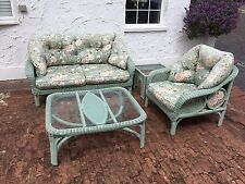 Suite of light green Cane Furniture for Covered Terrace or Conservatory