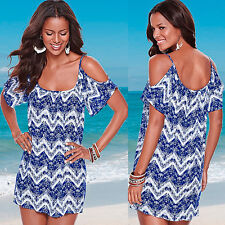 New Womens Mini Party Sleeveless Ladies Holiday Summer Beach Chiffon Boho Dress
