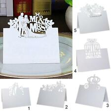 50Pcs Wedding Marriage Bride Groom Party Name Number Place Table Laser Cut Cards