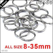 10-35mm Stainless Steel Split Key Ring Fishing Solid Double Wire Jump Chain Hook