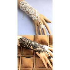 Fashion Wedding Bridal Lace Wrist Cuffs Fingerless Glove Bracelet with Ring