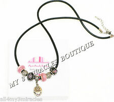 FOLLOW YOUR DREAMS Black Leather NECKLACE European Style Pink Inspire Graduation