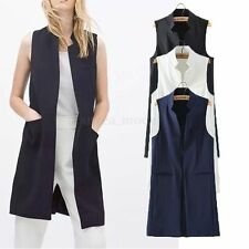 Fashion Women Sleeveless Waterfall Cape Long Cardigan Jacket Coat Waistcoat Vest