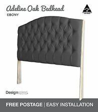 ADELINE OAK Upholstered Bedhead / Headboard for Ensemble Bed - Ebony