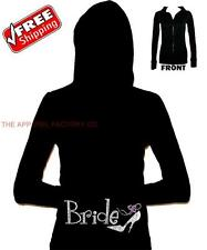 New Rhinestone BRIDE S-XL Black Junior Thermal Hoodie bridesmaid wedding gift