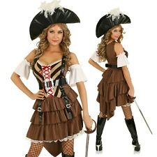 Womens Sexy Buccaneer Pirate Costume Halloween Fancy Dress Party Outfit & Hat