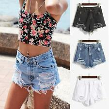 Womens Ladies High Waist Shorts Denim Slim Tassel Hole Hot Pants Short Jeans