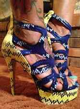 NEW-SHOE DAZZLE ESTELLE BLUE/YELLOW SNAKE PLATFORM HEELS 7 & 8.5