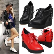 New Womens Platform Wedges High Heel Ankle Boots Spike Stud Punk Creeper Shoes