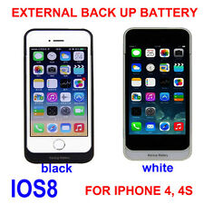 Portable External Back up Battery Charger Case POWER BANK Iphone 4 4s 1900mAh