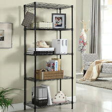 5 Shelf Office Furniture Wire Rack Storage Steel Shelving Chorme Rackice Black