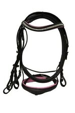 Leather Diamante Horse Bridle Equestrian Rubber Reins Black With Pink Padded
