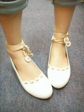 MW007215 - CUTE LACE UP BALLET FLATS (CREAM)