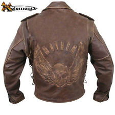 Men's Premium Brown Distressed-Leather Jacket with Embossed Flying Skull