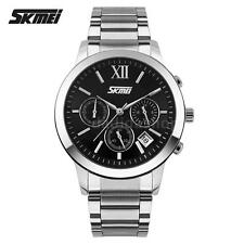 Mens Stainless Steel Date Day Stopwatch Quartz Sport Wrist Watch Waterproof C7P2