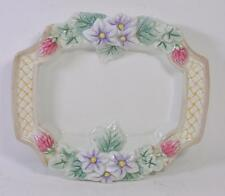Fitz And Floyd Essentials Soap Dish Tray Candy Dish Red Clover & Purple Flowers
