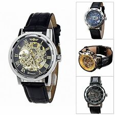 Classic Male Fashion Leather Band Skeleton Dial Hand Wind Mechanical Wrist Watch