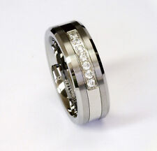 AMZ 7 White CZ Stones on 8mm Tungsten Carbide Ring Men's Wedding Band by Cohro