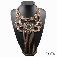 2016 crystal alloy tassel choker collar bib chunky statement necklace for women