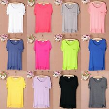 Women Short Sleeve T-shirt Casual Tee Shirts Blouse Pocket Solid Color Base Tops