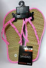 Ladies Flip Flops Toe Post Sandals Flat Beach Womens Shoes Hawaii PINK