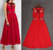 Fashion 2016 summer runway style hot sale embroidery dress S M L XL