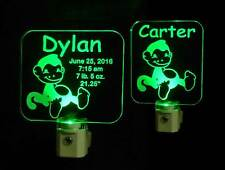 Personalized Monkey LED Night Light - Animal Lamp, Kids, Nursery, Handmade