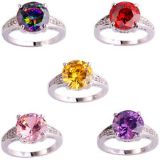 Charming Round Cut 5 Color White Topaz Gemstone Silver Plated Ring Jewelry