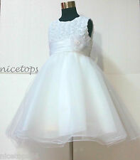 Kids White Communion Church Baptism Event Flower Girls Dresses 1-2-3-4-6-7-8-10T