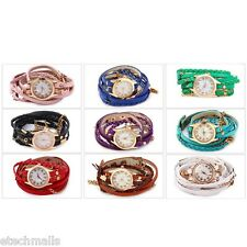 Hot! Women Vintage Weave Wrap Leather Bracelet Wrist Watch