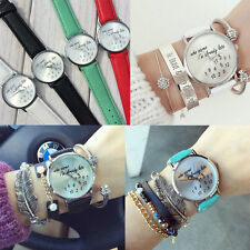 """""""Who Cares I'm Already Late"""" Funny Comment Nice Lady Women Leather Wrist Watch"""