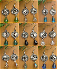 Vintage Round Fleur De Lis, Dangle Earrings With Crystal Teardrop Beads