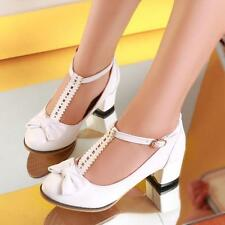 HOT Womens Round Toe Chunky Mid Heel Bowknot T-Bars Pumps Court Party Shoes Size
