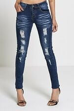 WOMENS LADIES EXTREME FRAYED RIPPED DENIM SKINNY JEANS SIZES 6-16