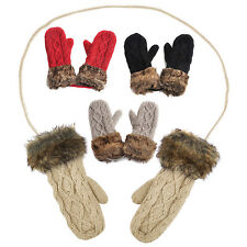 Warm Ladies Rag Wool Winter Snow Mittens Knitted Fleece Lined Fur Gloves T1