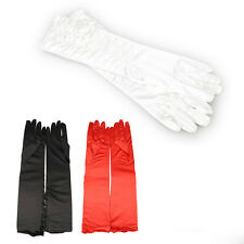 A Pair Long Stretch Satin Ruched Evening Gloves for Fancy Dress Costume Black T1