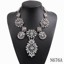 2016 new design fashion big chunky statement chain crystal pendant necklace